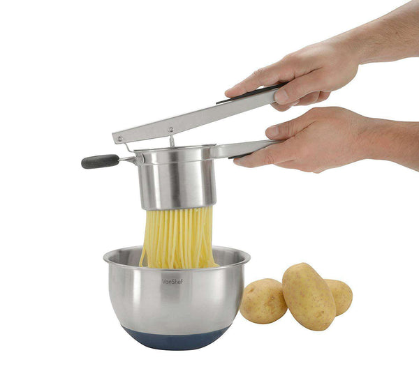 VonShef Professional Stainless Steel Mash Potato Ricer Masher/Fruit Press With Black Soft Touch Handles - handmade items, shopping , gifts, souvenir