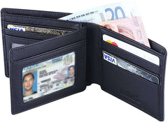 RFID Blocking Genuine Leather Wallet for Men Travel Credit Card Wallets