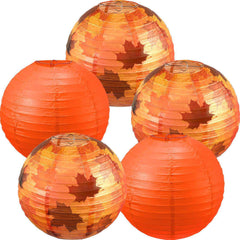 5 Pieces Fall Party Decorations Maple Leaf Decorations Fall Round Hanging Paper Lantern