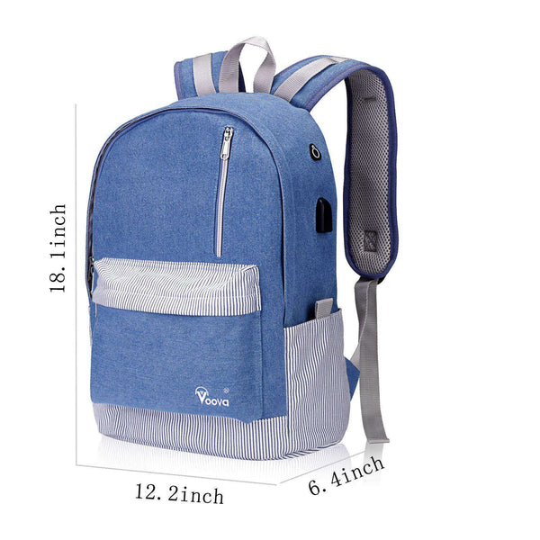 School Rucksack Laptop Backpack with USB Charging & Headphone Port - handmade items, shopping , gifts, souvenir