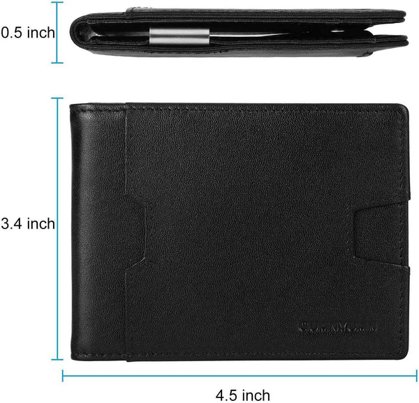 Men Leather Wallet with Money Clip RFID Blocking Slim Wallet