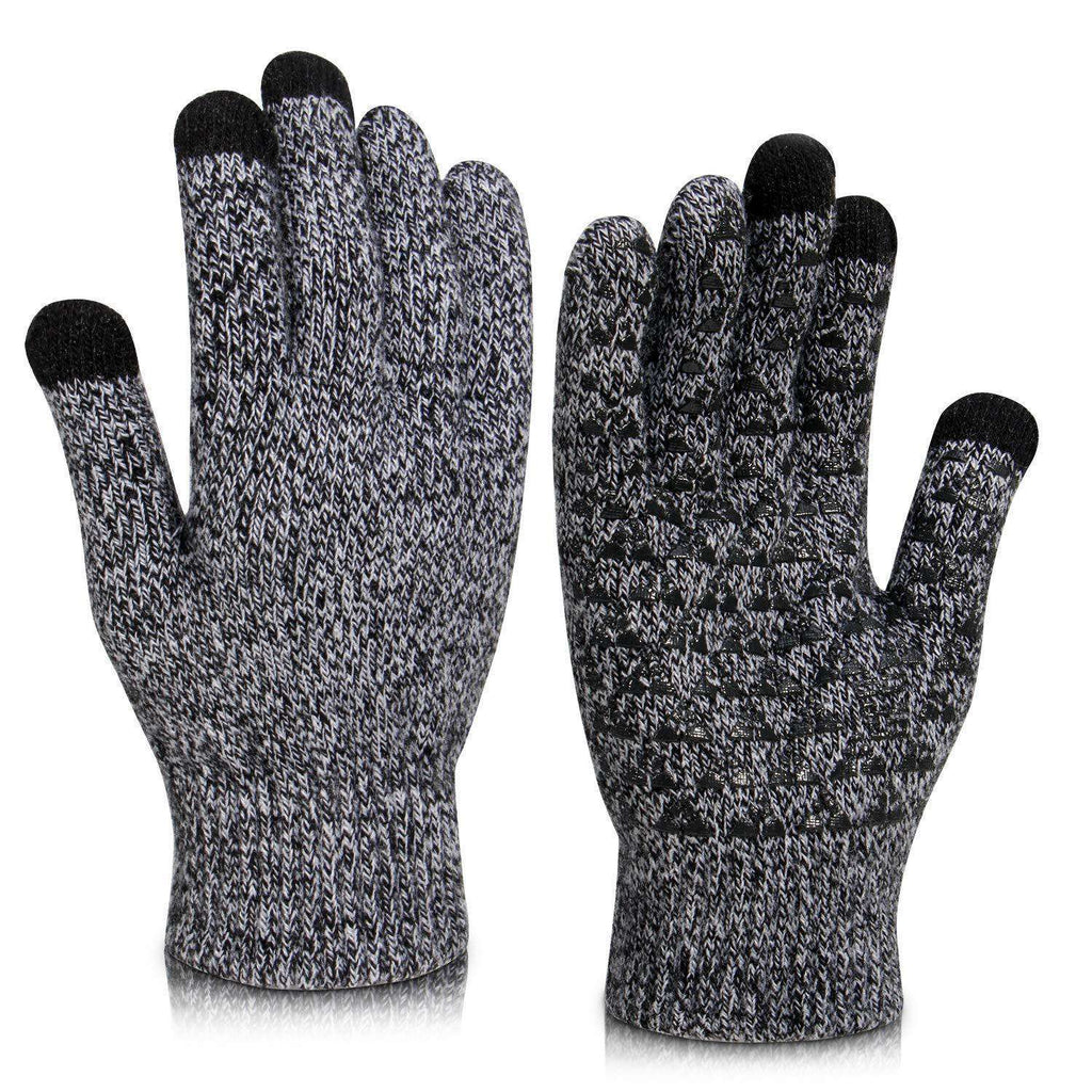 Winter Knit Gloves Touchscreen Gloves Women Men Thermal Wool Lined Texting Glov