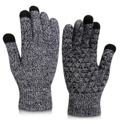 Vetoo Winter Knit Gloves Touchscreen - Women Men Thermal Soft Wool Lined Texting Gloves Running Outdoor Fleece Warm Gloves
