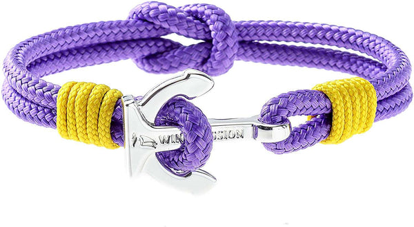 Wind Passion Premium Anchor Bracelet Durable Nautical Rope Cuff Wristband for Men Women Purple Rain - handmade items, shopping , gifts, souvenir