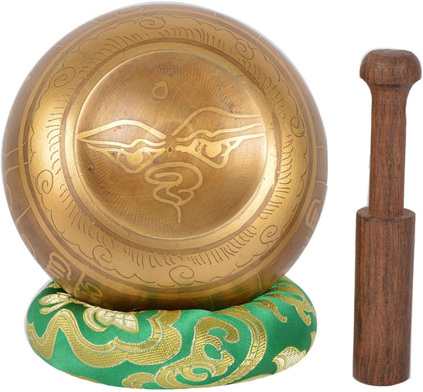 Meditation Tibetan Singing Bowl with Special Etching and Ethnic pouch For Relaxation & Healing - handmade items, shopping , gifts, souvenir