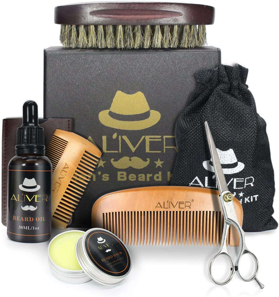 Beard Care Kit with Beard Brush Comb Oil and Beard Scissors for Men
