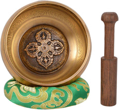Meditation Tibetan Singing Bowl with Special Etching and Ethnic pouch For Relaxation & Healing