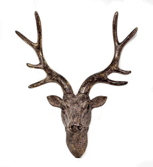 Stag Deer Head Sculpture Wall Decoration Made From Resin With Bronze Finish