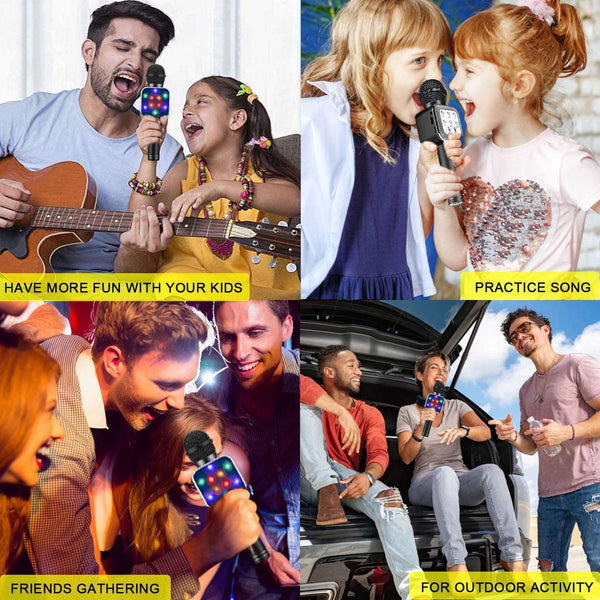 Wireless Karaoke Microphone Bluetooth Dancing LED Lights Portable - handmade items, shopping , gifts, souvenir