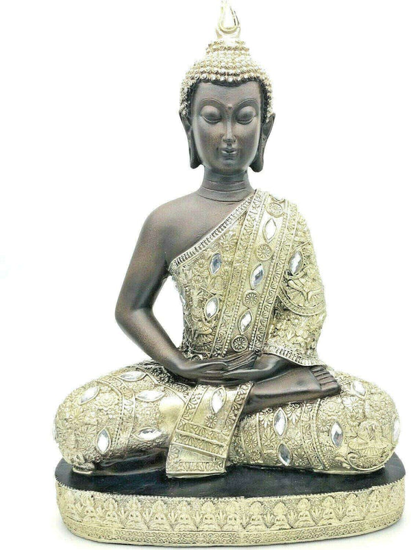 Buddha Ornament Sitting Statue Meditating  Stunning Silver Finish - handmade items, shopping , gifts, souvenir