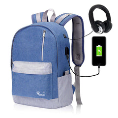 School Rucksack Laptop Backpack with USB Charging & Headphone Port