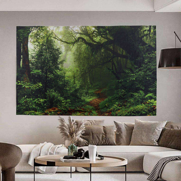 Green Forest Tapestry Tree Landscape Nature Landscape for Bedroom Living Room Dorm Decor - handmade items, shopping , gifts, souvenir