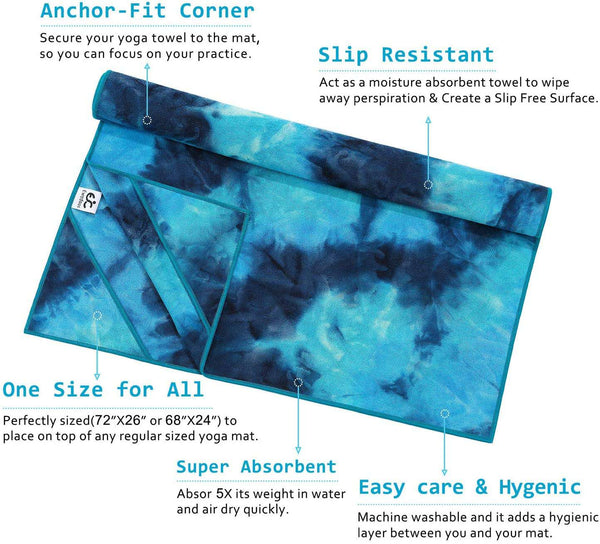 Yoga Towel with Anchor Fit Corners Non Slip Yoga Towel