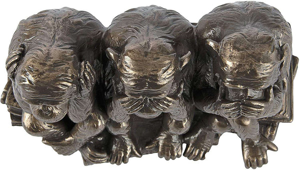 Design Toscano Three Truths of Man Figurine Hear No See No Speak No Evil  Bronze Finish Monkeys Animal Statue - handmade items, shopping , gifts, souvenir