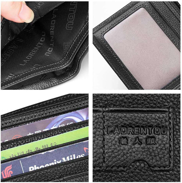 Black Leather Wallet for Men RFID Blocking Bifold Slim Short with Zipper Coin Pocket