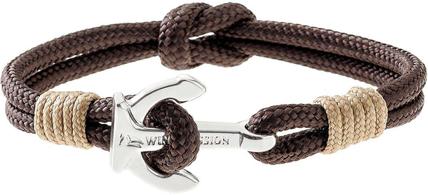 Wind Passion Premium Anchor Bracelet Durable Nautical Rope Cuff Wristband for Men Women Brown Chocolate - handmade items, shopping , gifts, souvenir