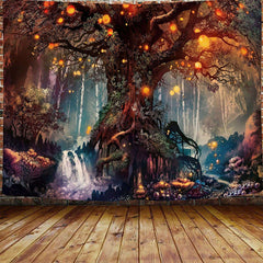 Magical Forest Tapestry Life Tree Wall Hanging For Bedroom