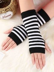 4 Pairs Wrist Fingerless Gloves with Thumb Hole Unisex Cashmere Warm Gloves