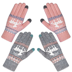 2 Pairs Women Winter Gloves Warm Knitted Glove Thicken Plush Lining Thermal Wrist Gloves Support Touch Screen