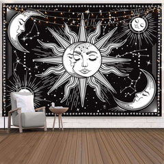 Sun and Moon Tapestry Black and White Constellation Astrology Mystic Wall Hanging For Bedroom
