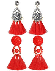 Besteel 2 Pairs Tassel Pendant Earrings