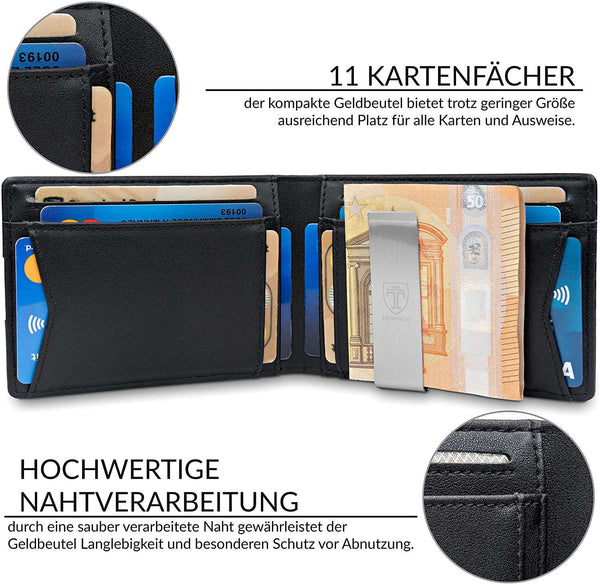 Wallet Mens with Money Clip RFID Blocking Slim Wallet