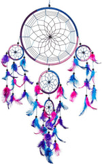 Pink Pineapple Large Handmade Dream Catcher Ethical Hanging Wall Art with Royal Blue