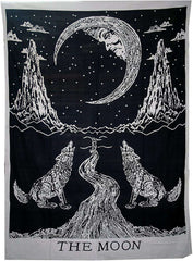 Crying Wolf And Moon Tapestry Wall Hanging Cotton Black White Mandala Boho Decor