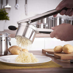 VonShef Professional Stainless Steel Mash Potato Ricer Masher/Fruit Press With Black Soft Touch Handles