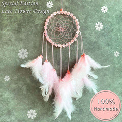 Pink Circle Handmade Dream Catchers for Girls Bedroom Wall Hanging Decorations Ornaments Craft