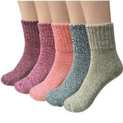5 Pairs Womens Wool Socks Thermal Warm Socks for Ladies