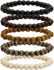 Wood Bead Bracelet Tibetan Buddhist Meditation Mala Prayer Beads Men Elastic Bracelet 6 and 8 mm