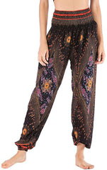 Women Hippie Yoga Pants Baggy Boho Patterned Smocked High Waist with Pockets Trousers