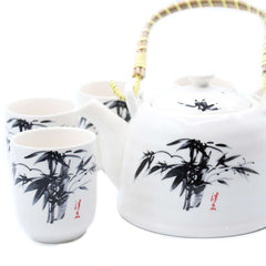White Ceramic Herbal Teapot Set With Six Matching Cups Butterfly Design