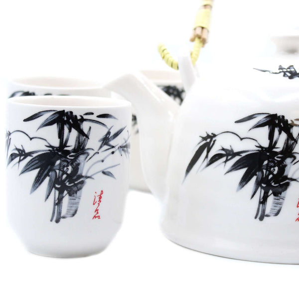 White Ceramic Herbal Teapot Set With Six Matching Cups Butterfly Design - handmade items, shopping , gifts, souvenir