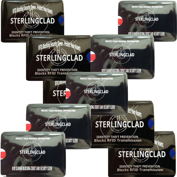 Stocking Stuffers -10 RFID Blocking Credit Card Chip Enhanced License Sleeves - Hi Tech ID theft protection