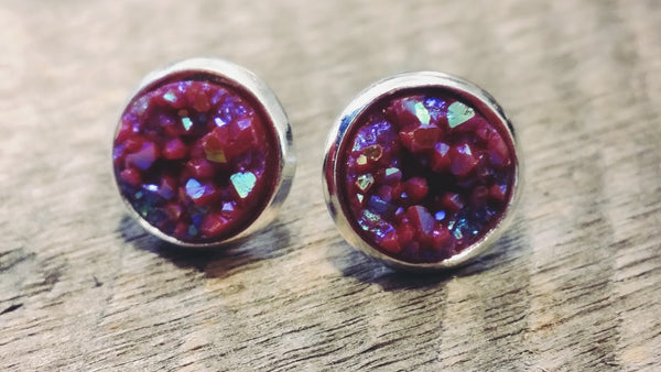 Small Druzy earrings- Maroon drusy silver tone stud druzy earrings