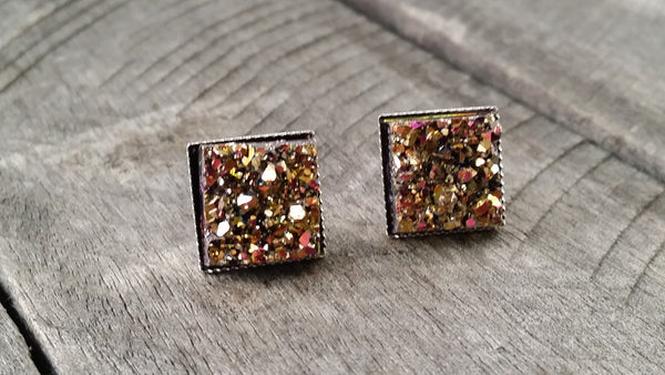 Druzy earrings-  Magenta gold chunky square drusy silver tone stud druzy earrings