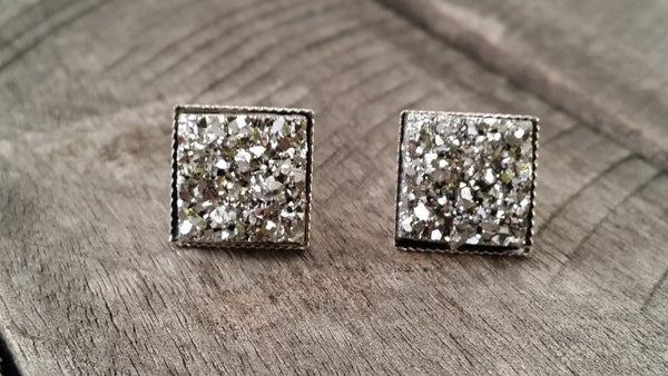 Druzy earrings-  Silver chunky square drusy silver tone stud druzy earrings