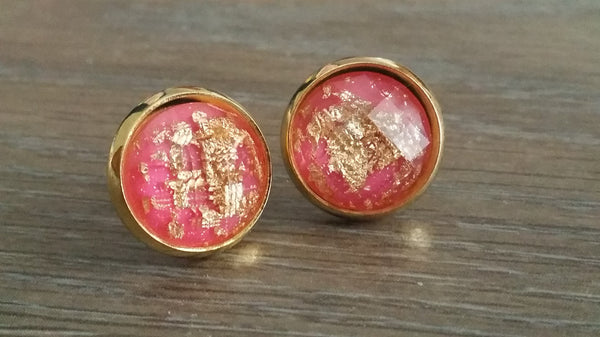 Faceted Pink Gold leaf silver tone stud earrings