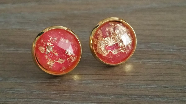 Faceted Red Gold leaf silver tone stud earrings