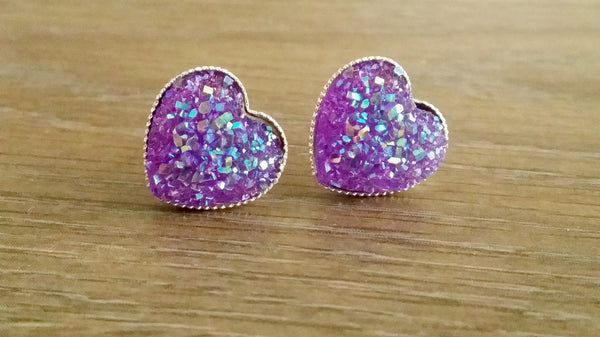 Druzy earrings- Purple heart drusy silver tone stud druzy earrings