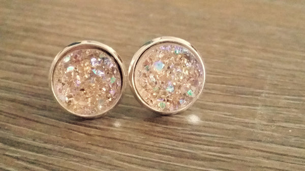 Druzy earrings- Champagne drusy silver tone stud druzy earrings
