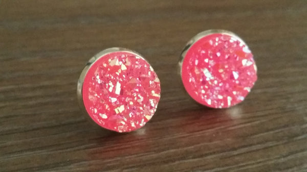 Druzy earrings- Hot pink titanium drusy silver tone stud druzy earrings