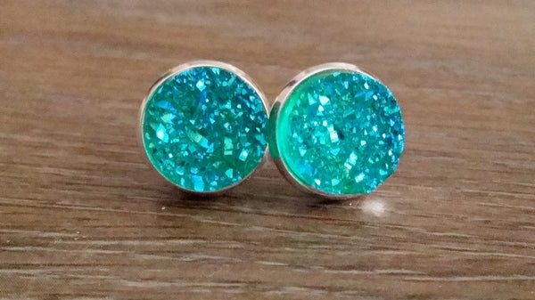 Druzy earrings- Aqua green titanium drusy silver tone stud druzy earrings