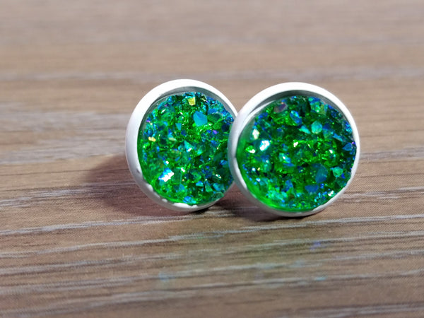 Druzy earrings-  Deep green drusy - white stud druzy earrings