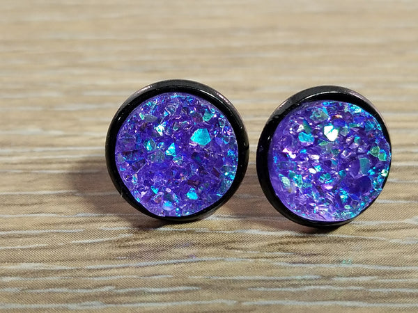 Druzy earrings- Purple drusy Black stud druzy earrings
