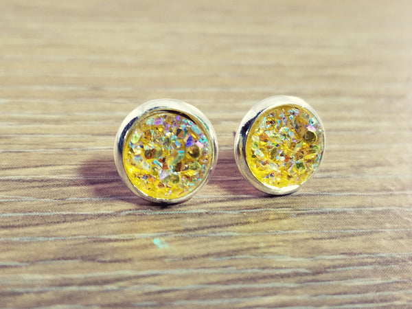 Tiny Druzy earrings- Yellow drusy silver tone stud druzy earrings