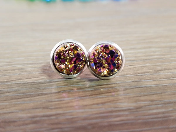 Tiny Druzy earrings- Magenta gold drusy silver tone stud druzy earrings