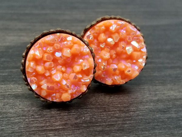 Ab Solid Orange faux druzy in Crown stud earrings (you pick setting tone)